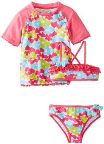 Absorba Baby-Girls Infant Multi Color Heart Swim Set, Printed, 12 Months