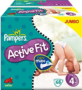 Pampers Active Fit Nappies Size 4 Maxi--2 x Jumbo Packs of 68 (136 Nappies)