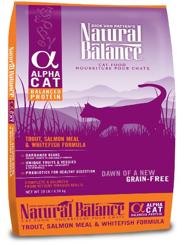 Detail image Natural Balance Alpha Grain-Free Trout, Salmon Meal, and Whitefish Formula for Cats, 10-Pound Bag