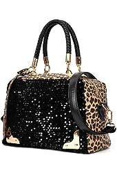1 X Wisedeal Fashion Leopard sequined ladies women shoulder Messenger bag handbag Tote Purse