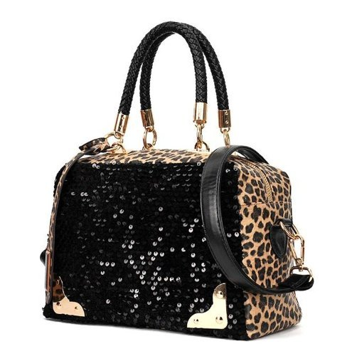 Find Bargain Wisedeal Fashion Leopard sequined ladies women shoulder Messenger bag handbag Tote Purs...