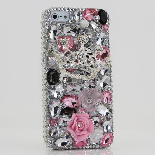 Great Sale 3D Swarovski Silver Crown Crystal Bling Case Cover for iphone 5 AT&T Verizon and Sprint / 100% Handcrafted by BlingAngels