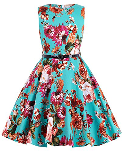 Girl's Knee-Length Florla Vintage Retro Cute Wedding Party Swing Dresses 1# 6~7 Yrs (Girls Vintage Dress compare prices)