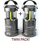 2 x HeroBeam LED Lantern V2.0 with Flashlight - 2016 COB Technology emits 300 LUMENS! - Collapsible Tough Lamp - Great Light for Camping, Car, Shop, Attic, Garage - BEST SELLING LANTERN IN THE UK!