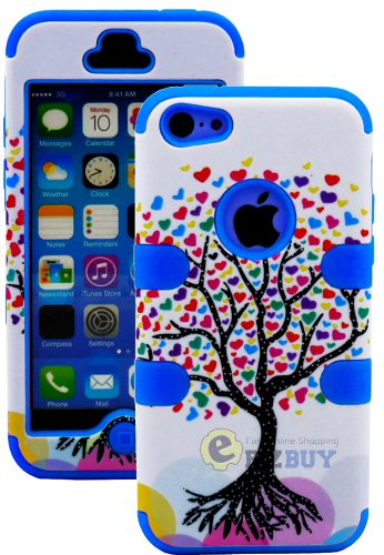 Mylife (Tm) Deep Sky Blue + Colorful Tree Of Hearts 3 Layer (Hybrid Flex Gel) Grip Case For New Apple Iphone 5C Touch Phone (External 2 Piece Full Body Defender Armor Rubberized Shell + Internal Gel Fit Silicone Flex Protector + Lifetime Waranty + Sealed