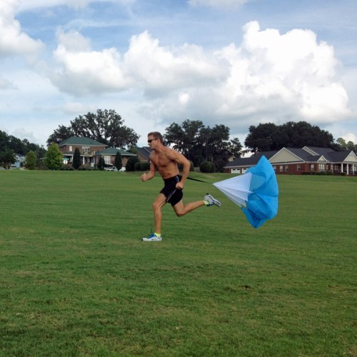 "48"" Speed Running Power Chute Speed Training Resistance Exercise Parachute Blue - 1"