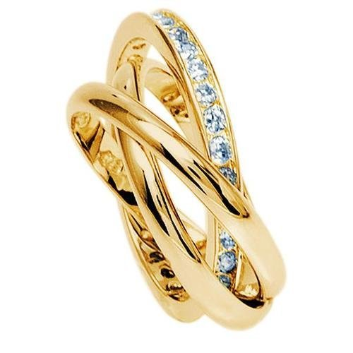 Simply Glamorous Jewellery And Gifts Shop - Russian Wedding Band/Rolling Ring with Diamond set In 18ct Gold Filled