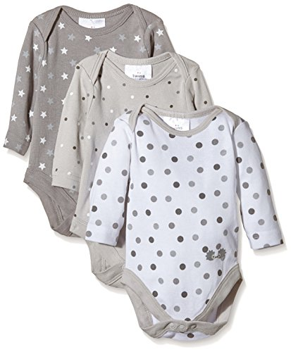Twins Unisex Baby Langarm-Body im 3er Pack, Gr. 74, Mehrfarbig (micro chip 144105)