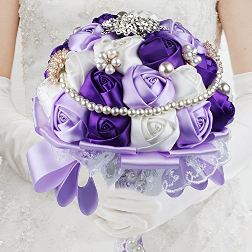 VLoveLife Advanced Wedding Bridal Bridesmaid Holding Bouquet Artificial Satin Rose Flower Handmade Posy Pearl Rhinestone Diamonte Lace Ribbon Decor , White + Lavender + Purple