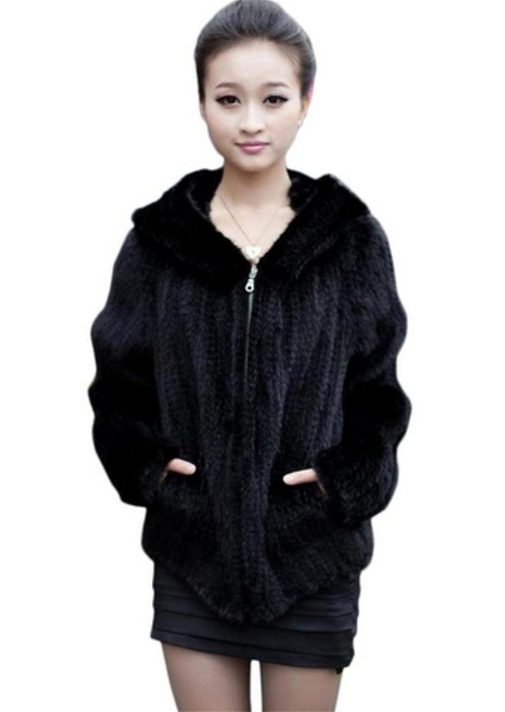 YR Lover Damen 100% Echter Winter Warm Echter Nerz Pelz Hoodie Mantel günstig online kaufen