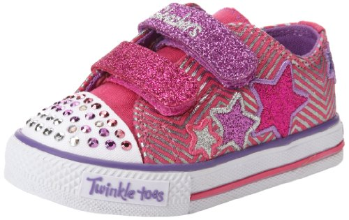 Skechers Girls Twinkle Toes Shuffles Triple Up Pink/Multi Low-Top 10249L 12 UK Child, 30 EU