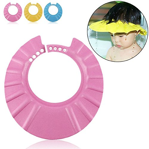 Sicuro Shampoo Doccia balneazione protezione morbido cappello per bambini, neonati, bambini e bambini Tenere L' acqua al di fuori gli occhi e viso (Rosa)