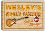 scpf1-0175 WESLEY'S World Famous Guitar Lounge Stretched Canvas Print Sign