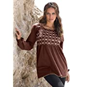 Roamans Plus Size Embroidered Smock Tee