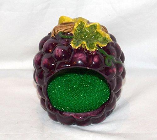 NEW CERAMIC 3D KITCHEN SINK PURPLE GRAPE DECOR SCOURING PAD HOLDER & SCRUBBER (Grapes Kitchen Accessories compare prices)