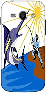 Snoogg Blue Marlin Fish Jumping Retro Solid Snap On - Back Cover All Around P...