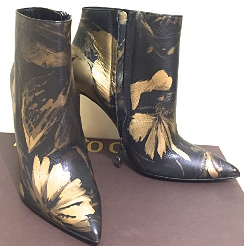 Roberto Cavalli Designer $1260.00 Black & Gold Leather Boots Hh Shoes Size11