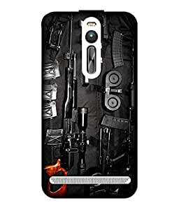 Case Cover Gun Printed Multicolor Hard Back Cover For Asus Zenfone 2