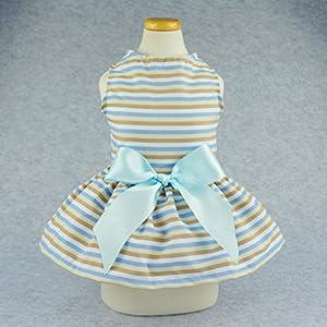 Fitwarm Casual Striped Dog Dress Vest Shirts Pet Clothes Cat Apparel