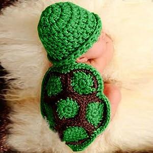 Cute Baby- Gorro Ropa Verde tortuga bebé para fotografía 51cmx31cm