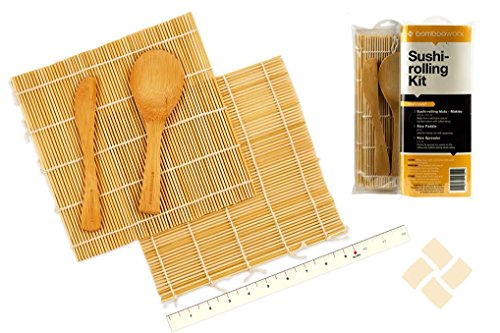 BambooWorx- Sushi Making Kit, 2 sushi rolling mats, 1 rice paddle, 1 rice spreader, sushi rolling kit, 100% bamboo sushi