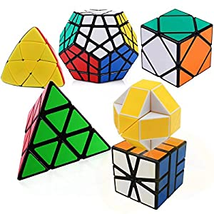 Icollect® Set of 6 Magic Speed Cube Pyraminx, Megaminx, Oblique, Mastermorphix, Square-1 SQ1 and Magic Snake Twisty Toy Puzzle bundle