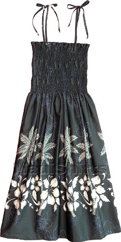49bebd97c2 Smocked Sundress - Women s Hibiscus Bottom Band Spaghetti Strap Hawaiian  Aloha Tube Top Sun Dress in Black - M.
