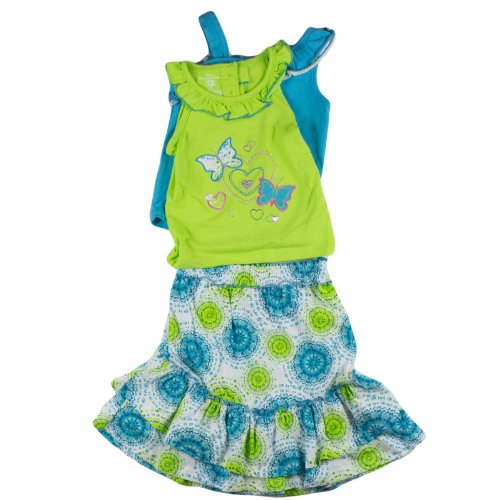 Girls Kids Headquarters 3-Piece Ruffle Tanks And Skirt Set 2T Green front-880267
