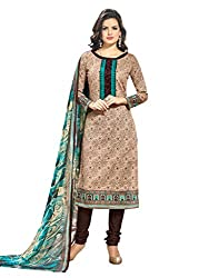 Inddus Women Brown Printed Handloom Cotton Dress Material