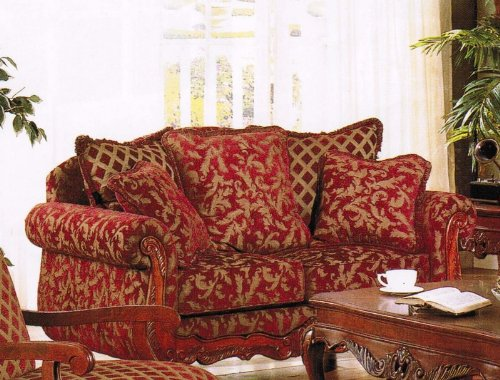 Buy Low Price Acme Loveseat Sofa Burgundy & Gold Floral Chenille Fabric (VF_AM5616)