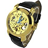 YouYouPifa Specials Golden Skeleton Dail Black Leather Strap Automatic Mechanical Watch
