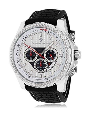 Christian Van Sant Men's CV5122 Sport Retrograde Black/Silver Rubber Watch