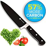 "Premium BlackLine(TM) Forged 8"" Chef Knife, Stays Sharp Longer with 57% More Carbon, with Artistic Black Blade Coating"