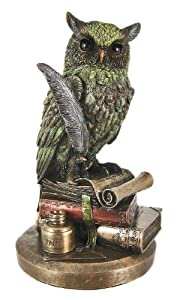Bronze Hue Horned Owl on Books Quill Statue Figurine