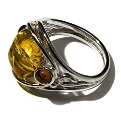 Sterling Silver Multi-Color Amber Designer Ring