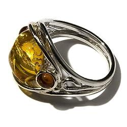 Sterling Silver Multi-Color Amber Designer Ring