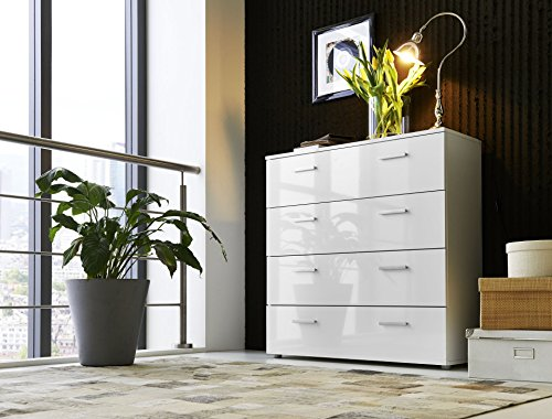 Modell-2016-Schubladen-Kommode-Sideboard-Anrichte-MARBELLA-in-Hochglanz-Wei-Made-in-Germany-direkt-vom-Hersteller-Hhe-91cm-Breite-88cm-Tiefe-32cm--Kommode-mit-4-Schubksten-Typ-3