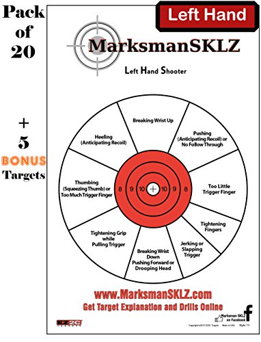 Targets for Shooting and Diagnostic (Pack of 20 + 5 bonus) | For Handguns | High Visibility 11