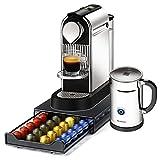 Nespresso Citiz C111 Chrome Single Serve Espresso Machine and Aeroccino Bundle with Bonus Nifty 40 Capsule Storage Drawer