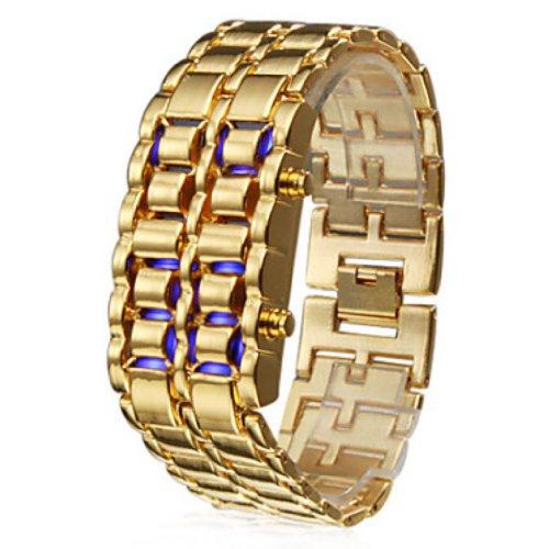Soleasy@ Baolihao 8-Led Blue Light Digit Stainless Steel Bracelet Wrist Watch Gold Wth0353