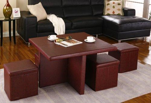 Kings Brand 5 Piece Cocktail Set Folding Coffee Table 4 Storage Ottoman Stools Finlaywhiteheadaqem