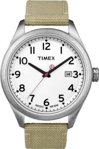Timex Original Men's Quartz Watch with White Dial Analogue Display and Beige Nylon Strap T2N222ZB