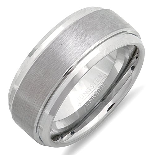 Tungsten Carbide Men'S Ladies Unisex Ring Wedding Band 9Mm Flat Ridged /Beveled Edges Brushed & Polished Comfort Fit (Available In Sizes 5 To 15) Size 12