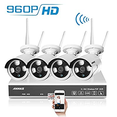 [New 960P-Wireless] Annke 4CH 960P NVR Wireless Security Camera System + 4xHD 1.3MP WiFi In/Outdoor Fixed IP Cameras, Super Night Vision, IP66 Weatherproof-NO HDD