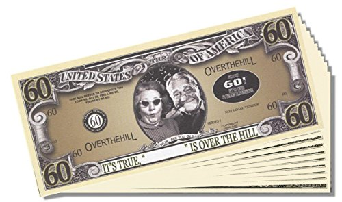 Over the Hill (60 Years Old) Million Dollar Bill - 10 Count with Bonus Clear Protector & Christopher Columbus Bill