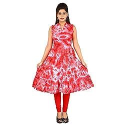 AnjuShree Choice Women's Cotton Peach Hand Dyed on White Anarkali Kurta Kurti (Medium)