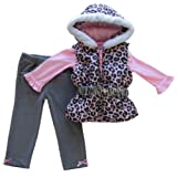Young Hearts Toddler Girl's Leopard Animal Print Hooded Puffy Vest, Top and Velour Pants 3-Piece Outfit (2T - 4T)
