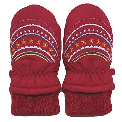 2014年 冬物 お花ガーランド刺繍 スノー手袋 ミトン グローブ WARM GLOVES レッド 1-2才
