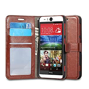 HTC Desire Eye Case, J&D [Stand View] Desire Eye Wallet Case [Slim Fit] [Stand Feature] Premium Protective Case Wallet Leather Case for HTC Desire Eye (Brown)