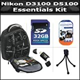 Essentials Accessory Bundle Kit For Nikon D7200, D7100, D7000, D5500, D5300, D5200, D5100, D3400, D3300, D3200, D3100, D800, D800E, D750, D600, D610, D300S, D90 DSLR Digital SLR Camera Includes 32GB High Speed SD Memory Card + BackPack Case + More